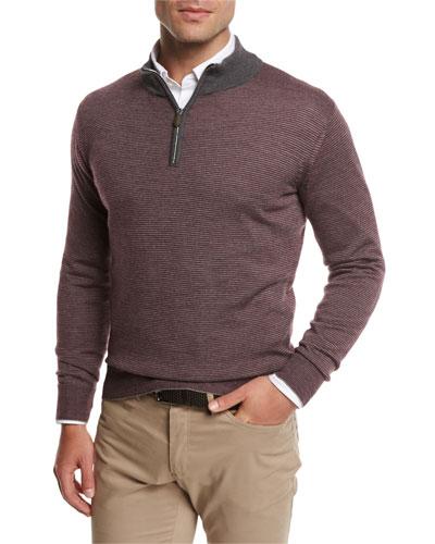 Trichrome-Stripe Wool-Silk-Cashmere Quarter-Zip Pullover, Chianti