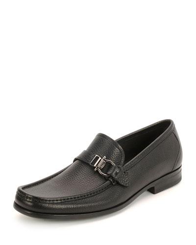 Men's Textured Calfskin Side Gancio Loafer, Black