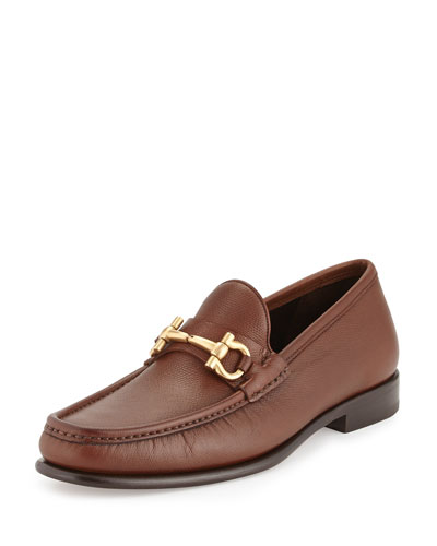 Textured Calfskin Gancini Loafer, Light Brown