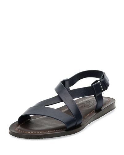 Men's Crisscross-Strap Calfskin Sandal, Navy/Brown