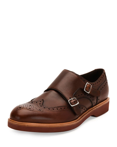 Calfskin Double Monk-Strap Loafer with Contrast Sole, Tan
