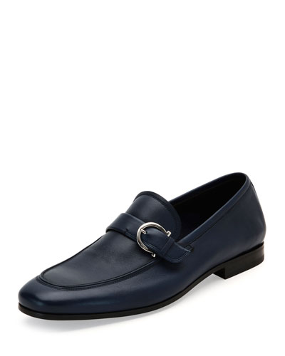 Soft Calfskin Side-Gancio Loafer, Blue Marine