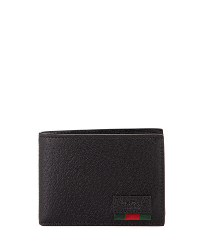 Leather Bi-Fold Wallet with Web, Black