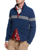 Donegal Cable-Knit Zip-Front Cardigan, Medium Blue