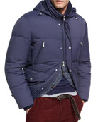 Quilted Nylon Down Jacket, Cobalt