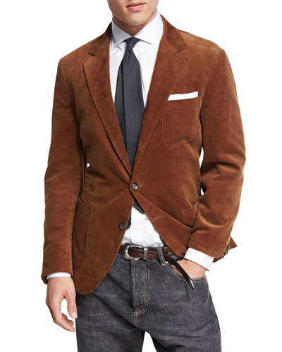 Corduroy Three-Button Sport Jacket, Medium Brown