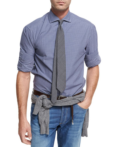 Check Twill Cotton Shirt, Navy