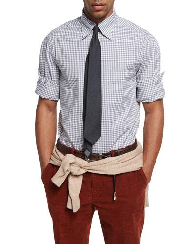 Check Cotton Oxford Shirt, Gray/White