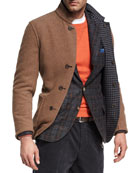 Reversible Houndstooth Wool-Silk-Cashmere Jacket
