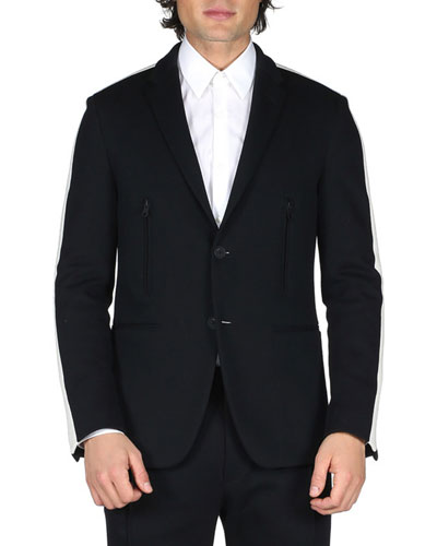 Track-Stripe Blazer Jacket, Black