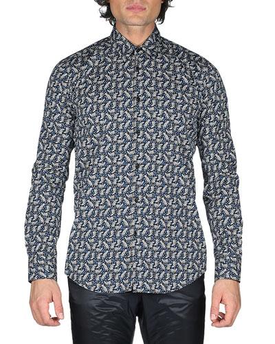 Jaguar-Print Cotton Shirt, Black