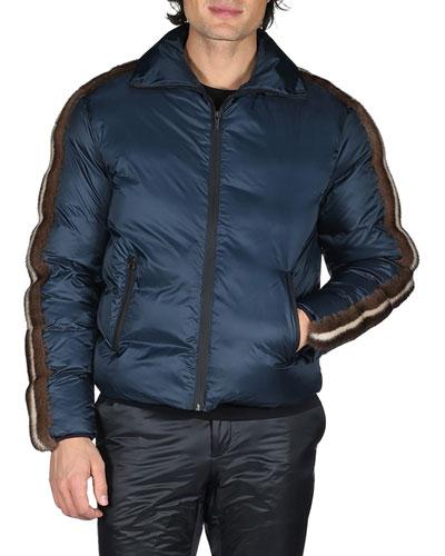 Down Jacket with Mink Fur Stripes
