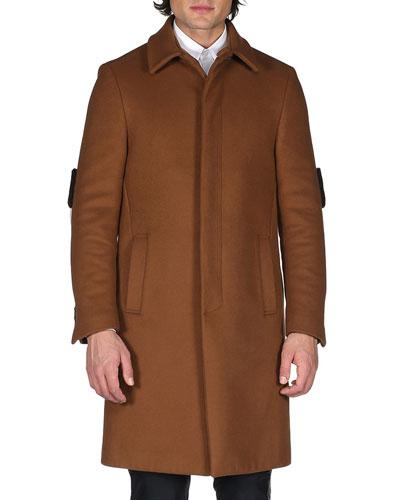 Monster Single-Breasted Top Coat, Khaki