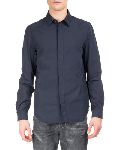 Cotton Concealed-Placket Shirt, Midnight Blue