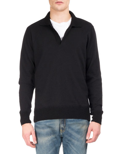 Johnny-Collar Wool Polo Sweater, Black