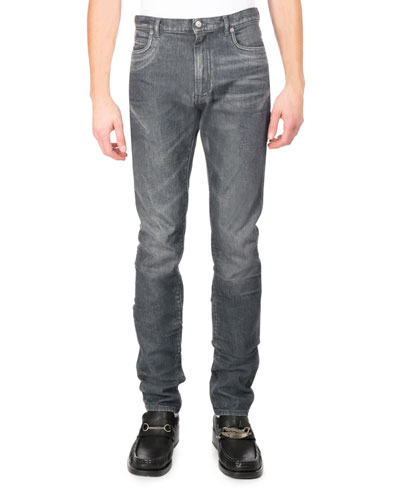 Faded Denim Straight-Leg Jeans, Gray