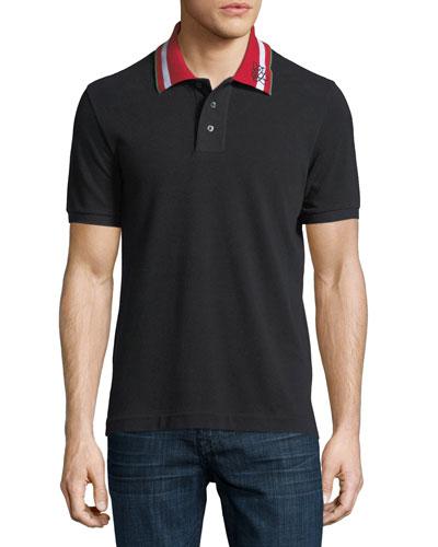 Striped-Collar Polo Shirt, Black