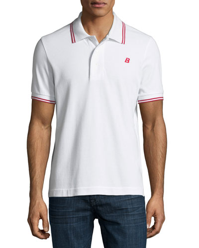 Striped Cotton Pique Polo Shirt, White