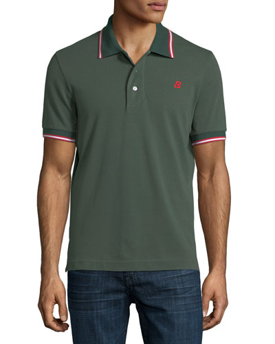 Striped Cotton Pique Polo Shirt, Green