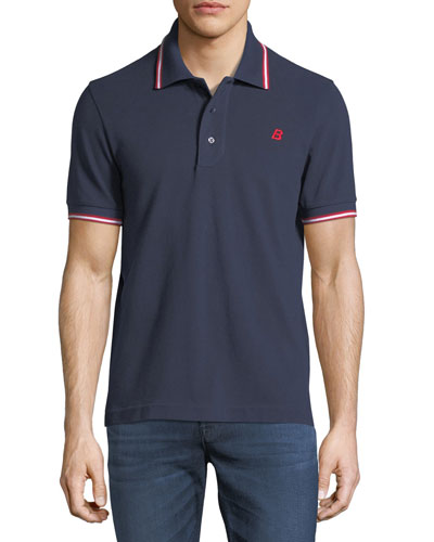 Striped Cotton Pique Polo Shirt, Navy