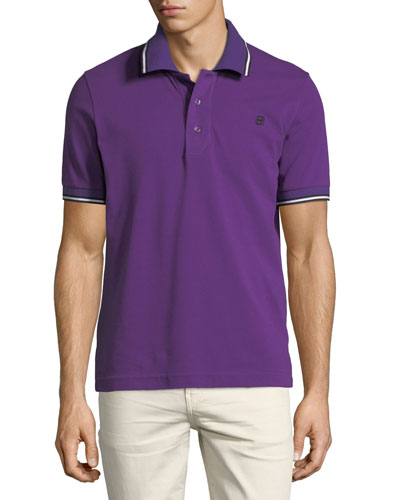 Striped Cotton Pique Polo Shirt, Purple