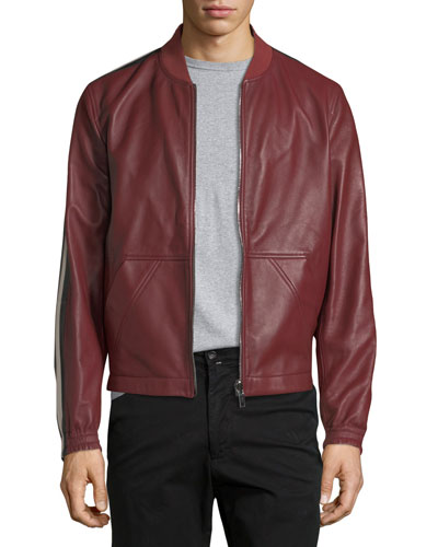Leather Bomber Jacket with Trainspotting Stripes