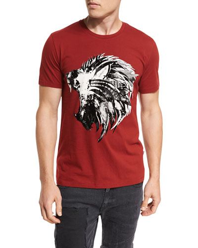 Feather Lion Cotton Crewneck T-Shirt