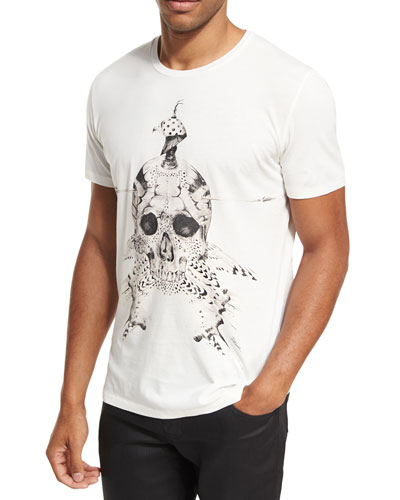 Feather Skull Cotton Crewneck T-Shirt
