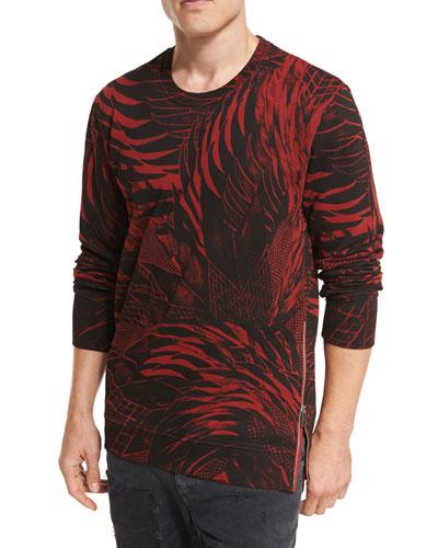 Palm-Leaf Side-Zip Cotton Sweatshirt