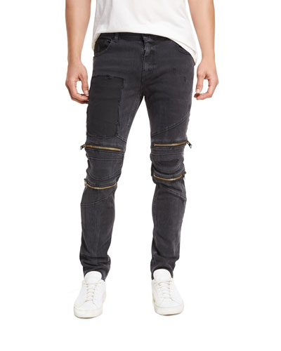 Straight-Leg Patchwork Moto Jeans with Zippers