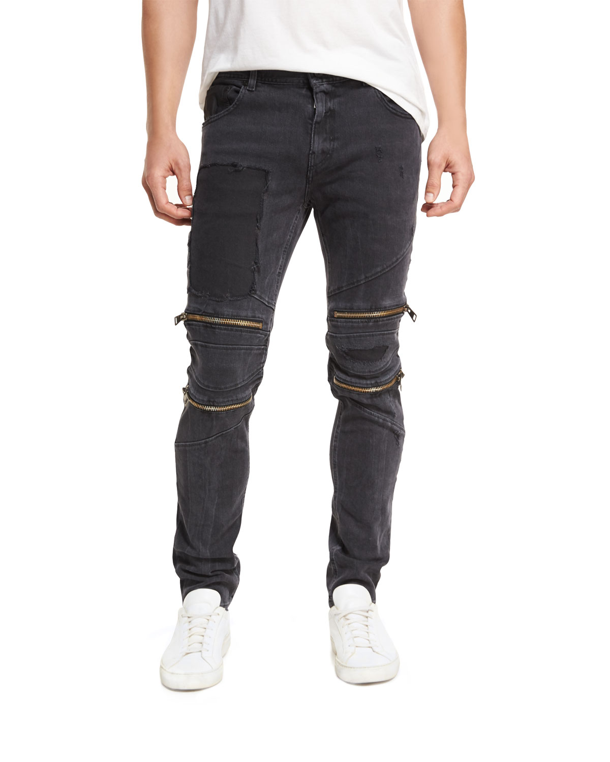 Just Cavalli Straight - leg Patchwork Moto Jeans With Zippers