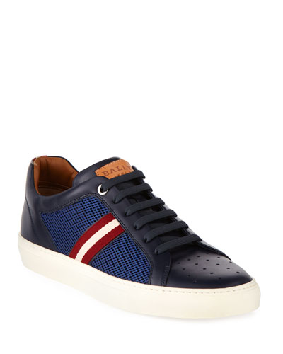 Herk Men's Mesh & Leather Low-Top Sneaker, Navy