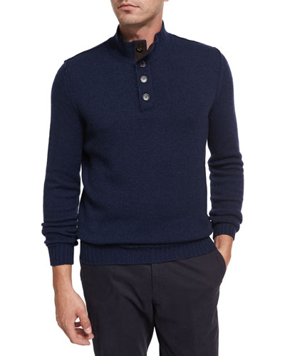 Cashmere Button-Neck Pullover, Medium Blue