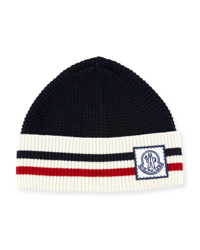 476f965a8a58 Moncler Wool Striped Logo Hat In Red Pattern