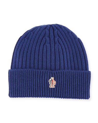 Ribbed Wool Logo Beanie Hat