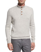 Cashmere Button-Neck Pullover, White/Gray