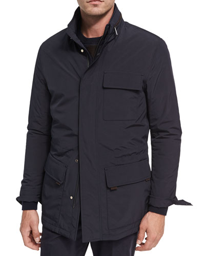 Mid-Length Field Jacket with Removable Hood