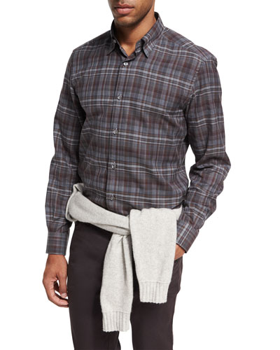 Plaid Cotton Shirt, Dark Gray/Burgundy