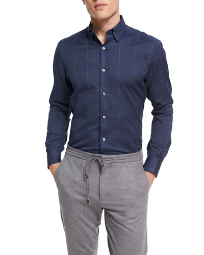 Windowpane Check Cotton Shirt