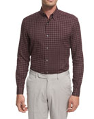 Grid-Check Cotton Shirt, Burgundy/White