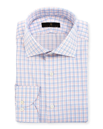 Gold Label Check Cotton Dress Shirt, Orange/Blue