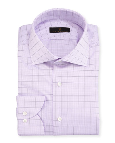 Gold Label Check Cotton Dress Shirt, Lavender