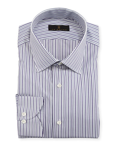 Gold Label Striped Cotton Dress Shirt, Purple/Gray