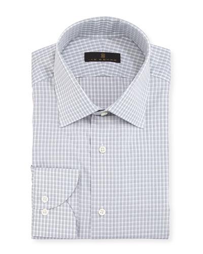 Gold Label Check Cotton Dress Shirt, Gray