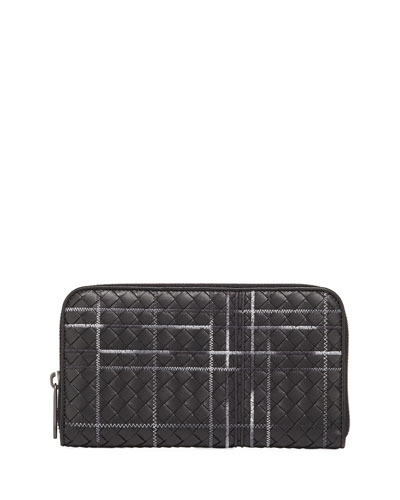 Metropolis Intrecciato Leather Continental Zip Wallet