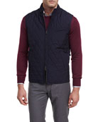 Caledonia Diamond-Quilted Pinstripe Wool Vest