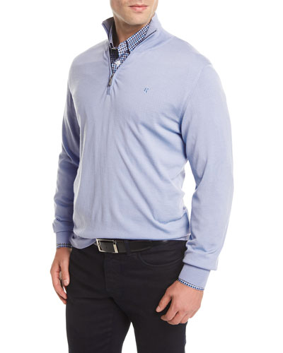 Quarter-Zip Wool Sweater, Blue