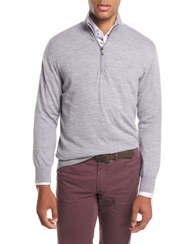 Quarter-Zip Wool Sweater, Gray