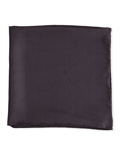 Solid Silk Twill Pocket Square, Charcoal
