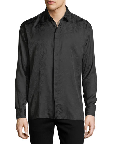 Long-Sleeve Tonal Firework-Print Shirt
